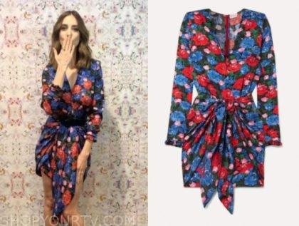 alison brie, the kelly clarkson show, floral drape mini dress