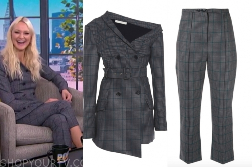 E! news, zanna roberts rassi, grey plaid pant suit