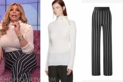 wendy williams, the wendy williams show, white button sweater, striped pants