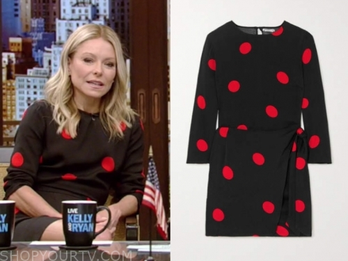 kelly ripa, black and red polka dot dress, live with kelly and ryan