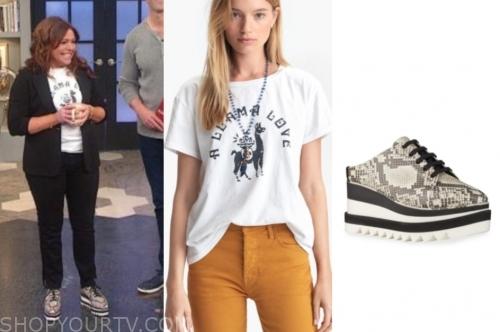 the rachael ray show, rachael ray, llama tee, snakeskin sneakers