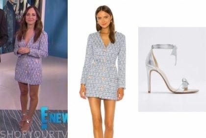 E! news, lilliana vazquez, blue tweed dress, silver knot sandals