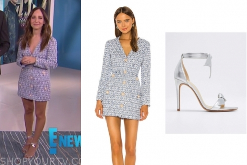 E! news, lilliana vazquez, blue tweed dress, silver knot sandals