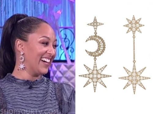 the real, tamera mowry, star and moon earrings