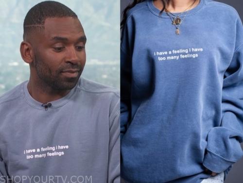 justin sylvester, blue sweatshirt, e! news, daily pop