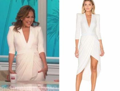 the talk, carrie ann inaba, white drape midi dress