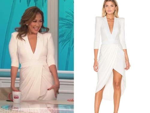 the talk, carrie ann inaba, white drape midi dress