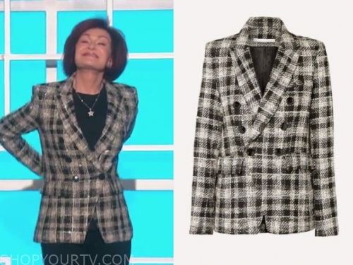 sharon osbourne, the talk, embellished double breasted blazer
