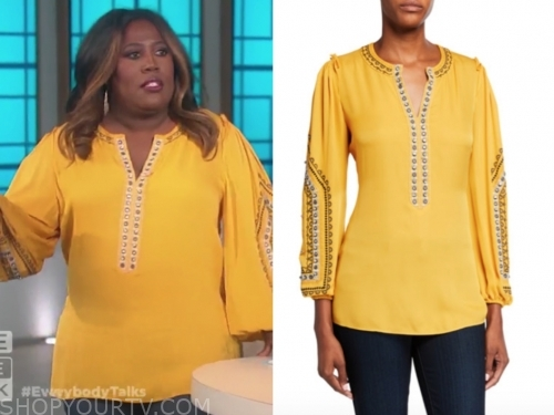 sheryl underwood, the talk, yellow embellished blouse
