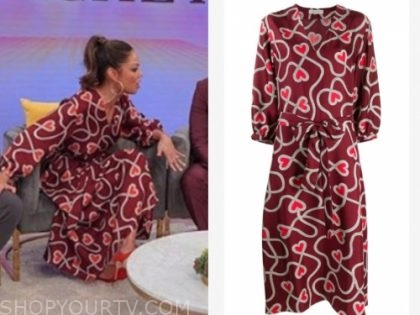 vanessa lachey, tamron hall show, red heart print dress