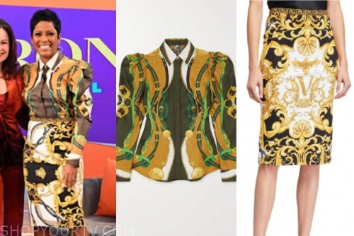 tamron hall, tamron hall show, baroque blouse and skirt set