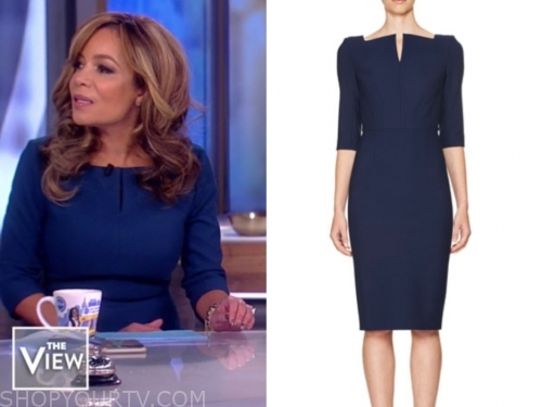 sunny hostin, the view, navy sheath dress