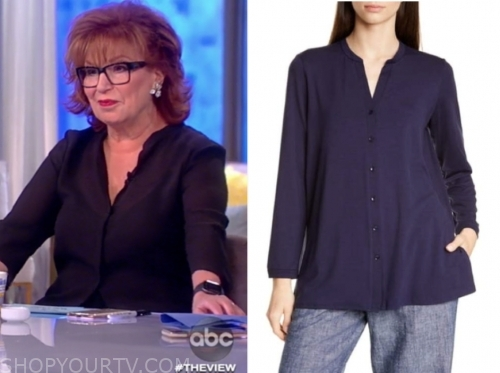 joy behar, navy blue blouse, the view