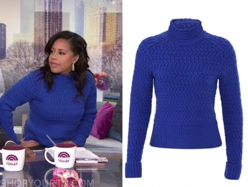 the today show, sheinelle jones, blue textured turtleneck sweater