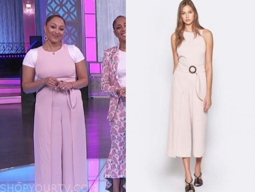 tamera mowry, blush pink jumpsuit, the real
