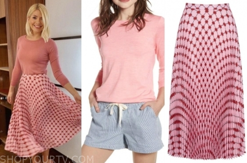 holly willoughby, this morning, pink sweater, pink pleated skirt