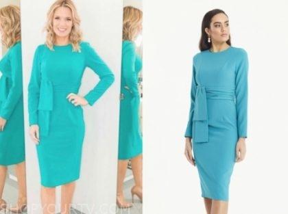 good morning britain, charlotte hawkins, blue tie waist dress