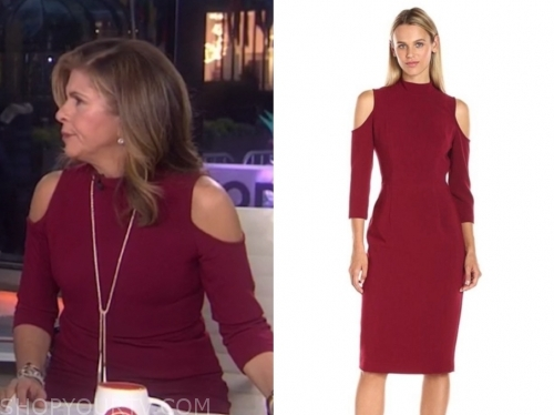 hoda kotb, the today show, burgundy cold-shoulder dress