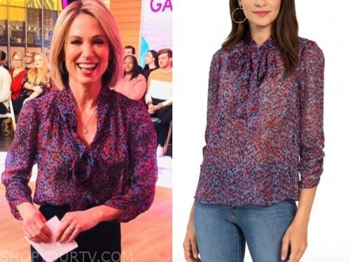 amy robach, heart print blouse, gma