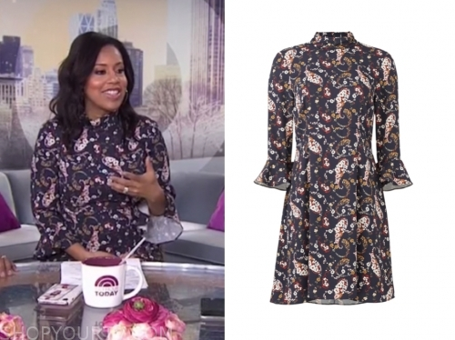 sheinelle jones, the today show, mock neck floral dress