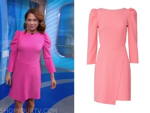 ginger zee, gma, pink puff sleeve dress