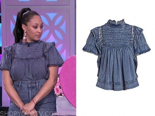 tamera mowry, the real, denim blouse