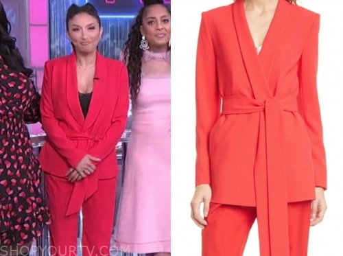 jeannie mai, the real, red tie waist blazer and pants suit