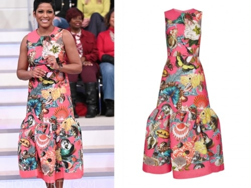 tamron hall, tamron hall show, pink butterfly midi dress