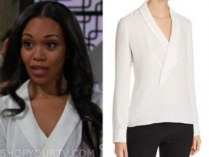 mishael morgan, amanda sinclair, the young and the restless, white surplice blouse