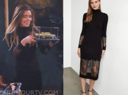 the young and the restless, amelia heinle, victoria newman, black turtleneck dress