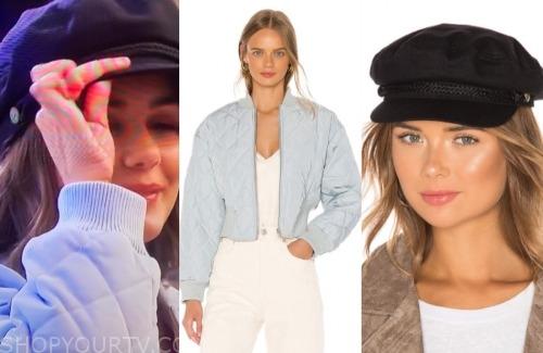 hannah ann sluss, the bachelor, blue quilted jacket, black cap hat