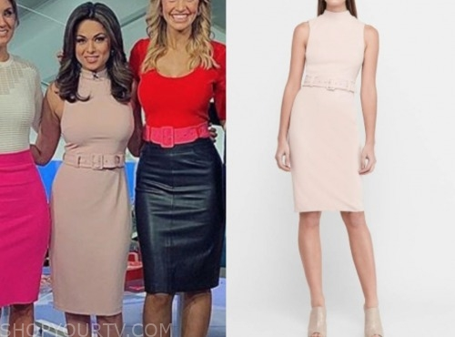 fox and friends, blush pink belted sheath dress, Aishah Hasnie