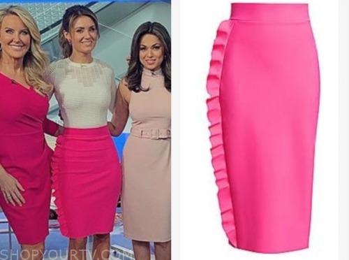 jillian mele, fox and friends, pink ruffle pencil skirt