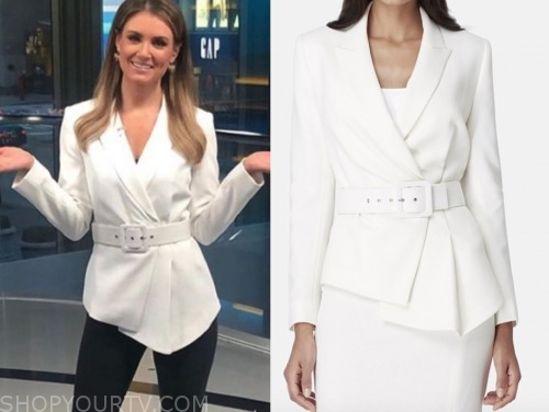 jillian mele, fox and friends, white belted blazer