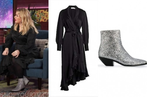 kelly clarkson, the kelly clarkson show, black wrap dress, silver glitter booties