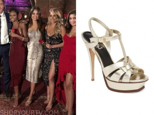 kelley f., the bachelor, metallic t-strap sandals