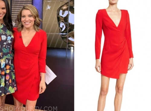 kit hoover, red wrap dress, access hollywood