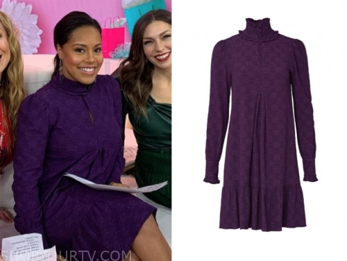 sheinelle jones, the today show, purple mock neck dress