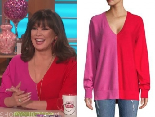 marie osmond, pink and red colorblock sweater, the talk