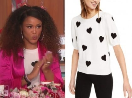 the talk, eve, black and white heart print knit top