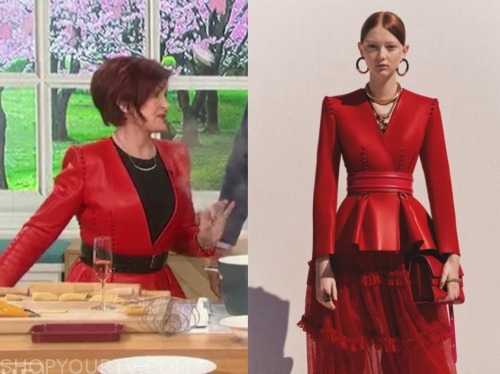 sharon osbourne, the talk, red leather peplum jacket
