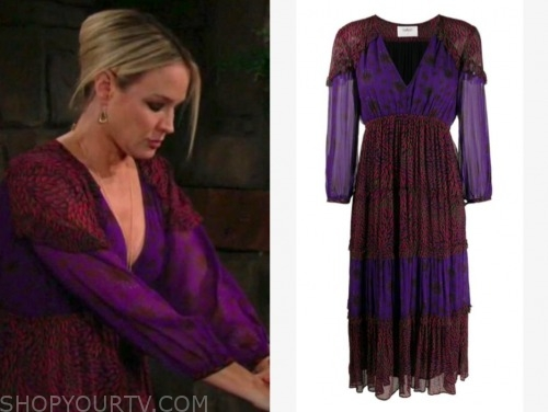 sharon case, sharon newman, the young and the restless, purple and pink midi dress