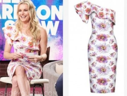 rebecca romijn, the kelly clarkson show, floral one-shoulder ruffle dress