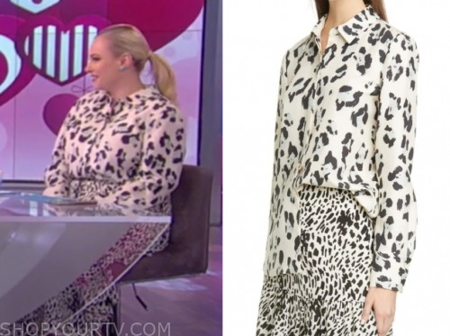 meghan mccain, the view, animal printed blouse and skirt