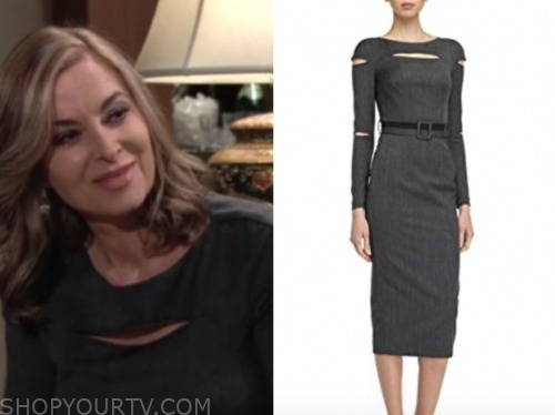 ashley abbott, eileen davidson, the young and the restless, grey cutout dress