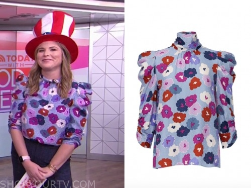 jenna bush hager, the today show, floral mock neck top