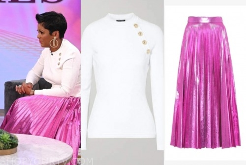 tamron hall, tamron hall show, white sweater, pink pleated metallic skirt