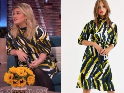 the kelly clarkson show, kelly clarkson, abstract printed dress