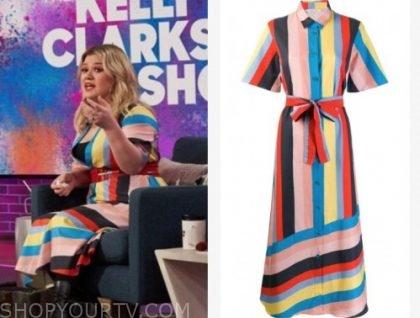 kelly clarkson, rainbow stripe dress, the kelly clarkson show