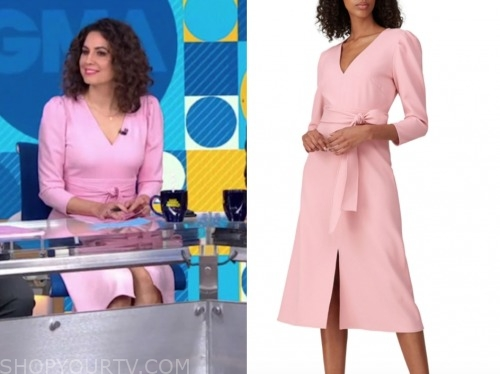gma, cecilia vega, pink dress